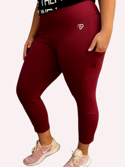 7/8 Burgundy with Pockets tights