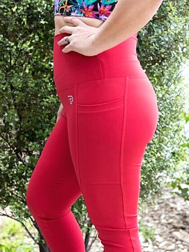 Red Capri Tights with pockets